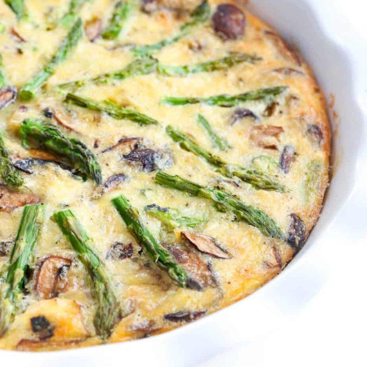 Mushroom Asparagus Quiche in pie dish