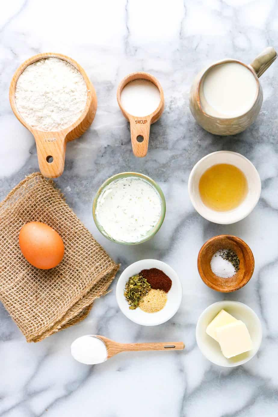 Gluten free herb and goat cheese biscuit ingredients