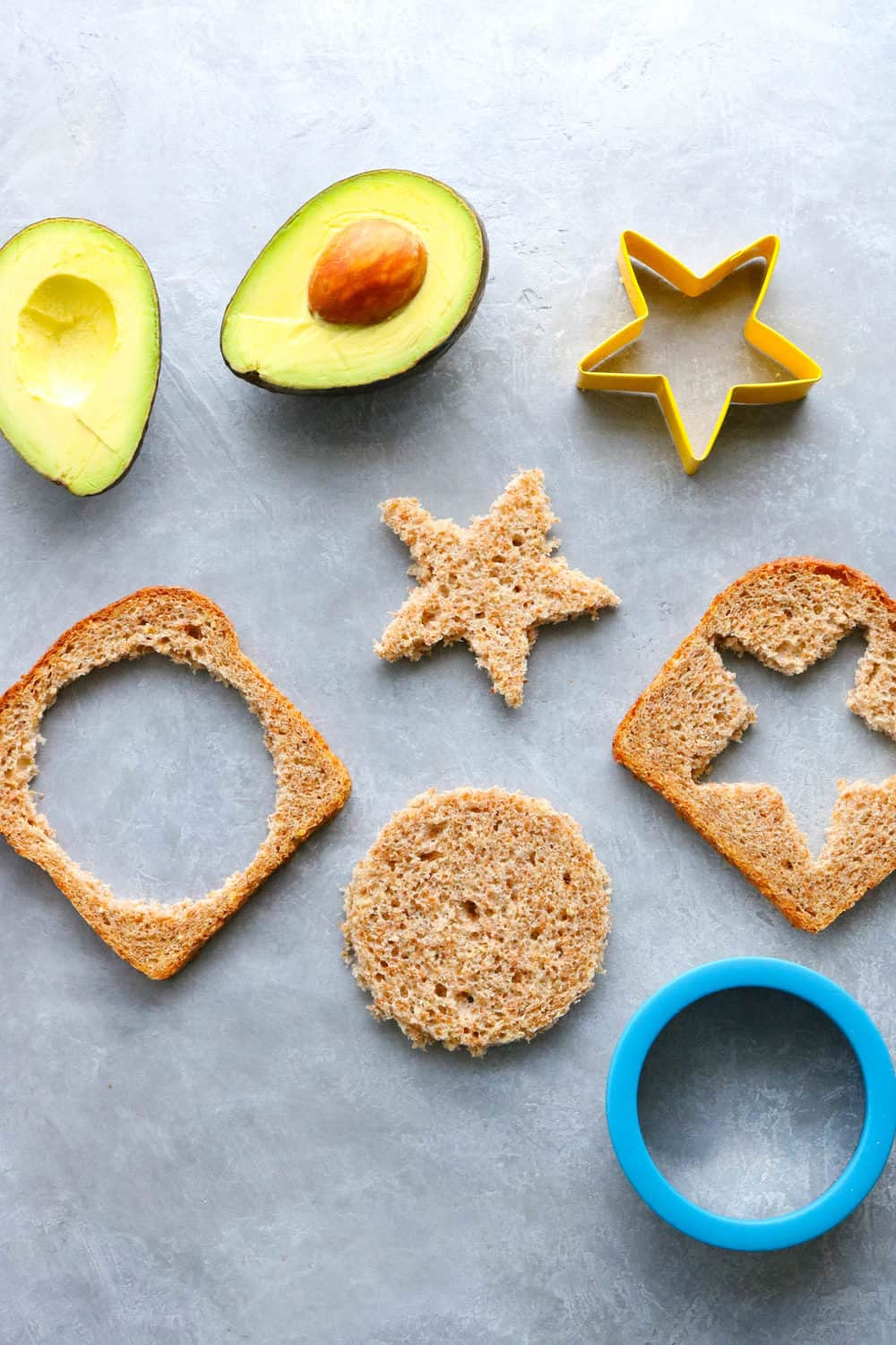cut outs of whole grain toasts