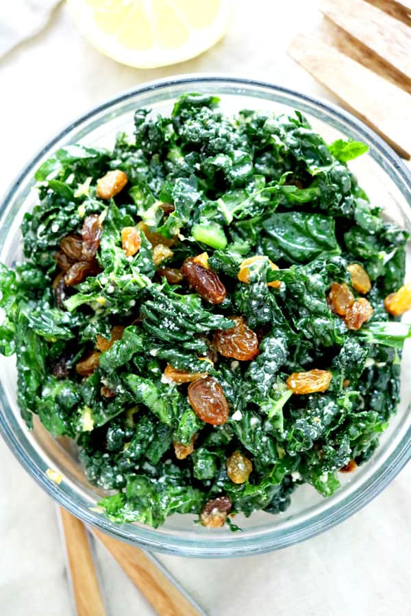 Easy Kale Salad with lemon dressing aerial view