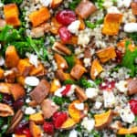 Simple kale and roasted sweet potato salad