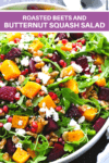 squash and beets with walnuts on top of arugula