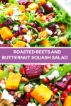 Beets and squash in a bowl with arugula, and walnuts