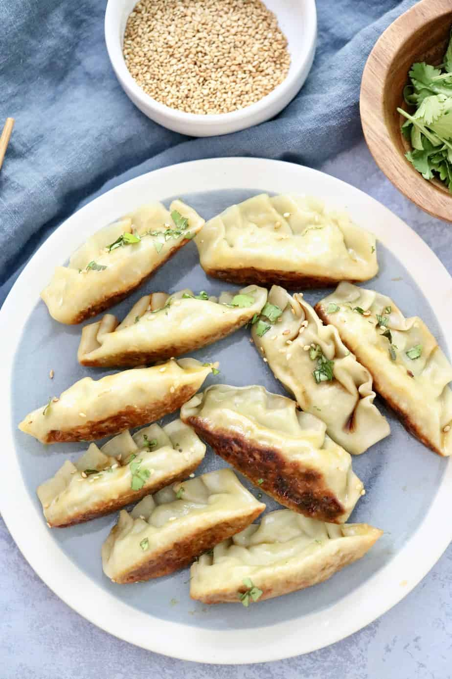 Vegetarian Potstickers on a plate