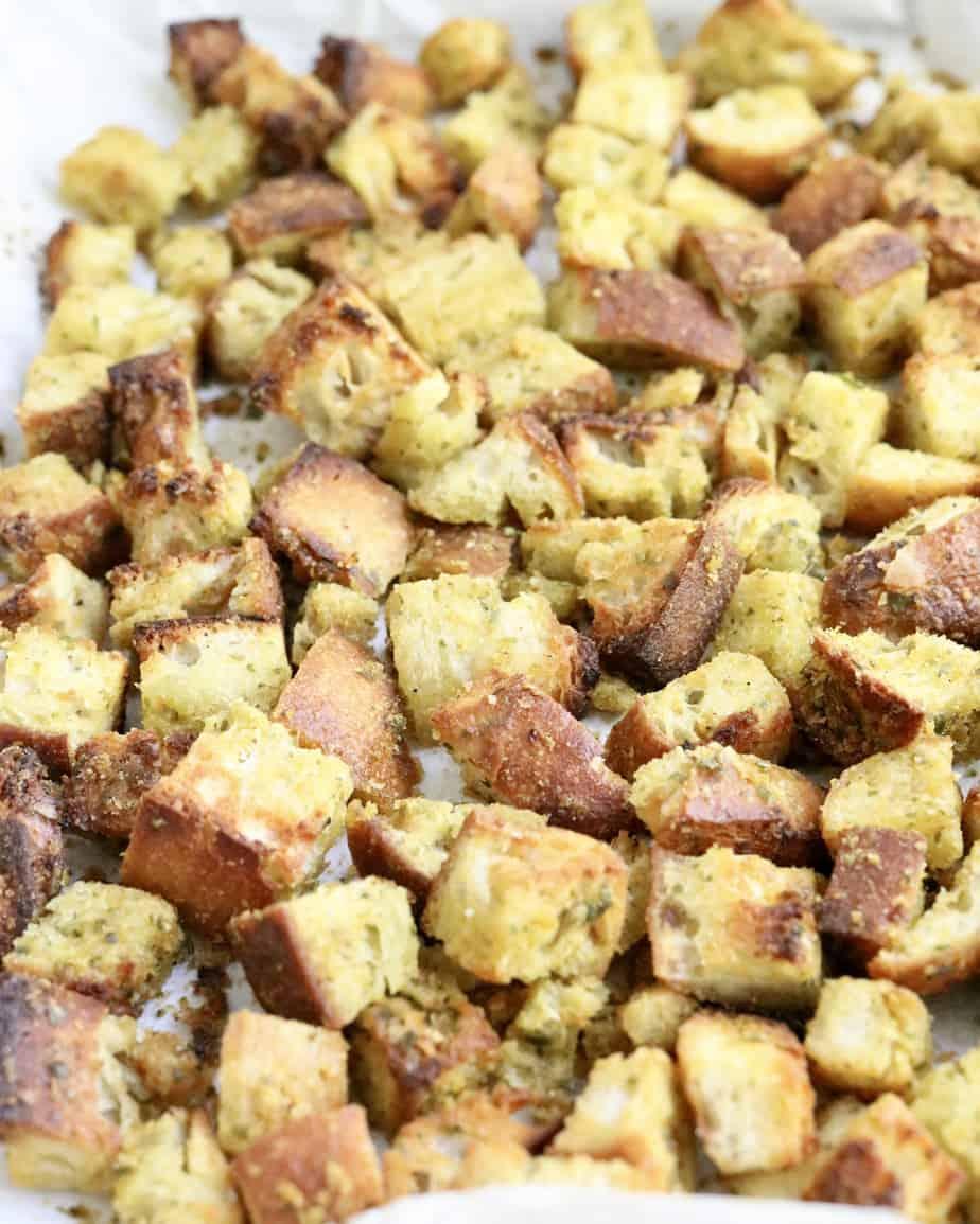 Crispy garlic croutons on pan
