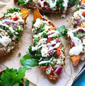 Mediterranean Roasted Sweet Potatoes