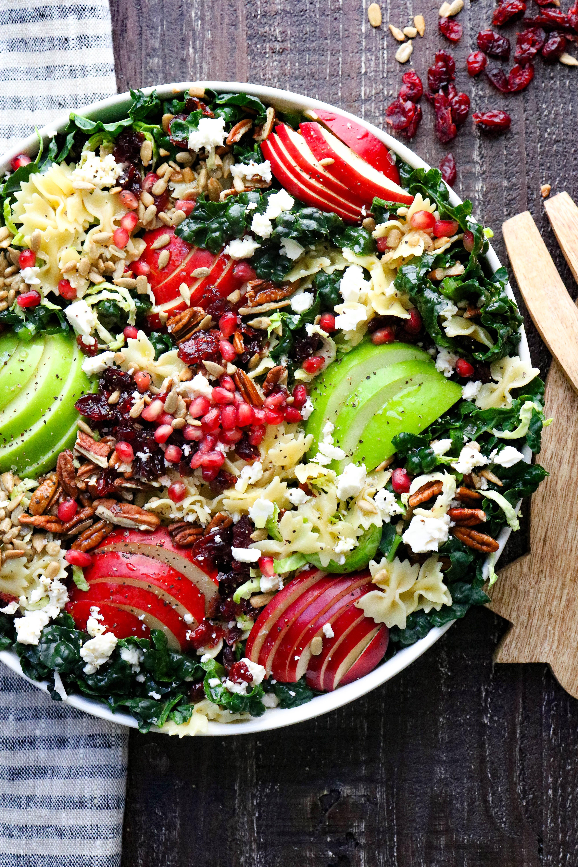 Autumn Crunch Pasta Salad on a platter