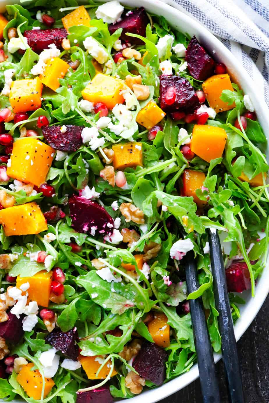 Roasted Beets and Butternut Squash Salad in a bowl.