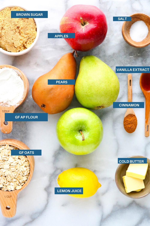 Ingredients for gluten free apple pear crisp