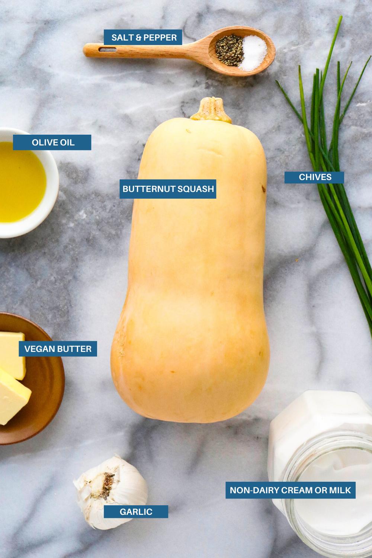 Ingredients to make mashed butternut squash
