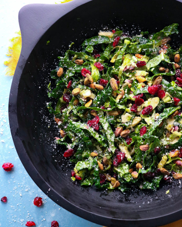 Kale and Brussel sprout salad with dijon shallot viniagrette dressing