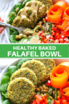 Falafel in a bowl with veggies topped with dressing