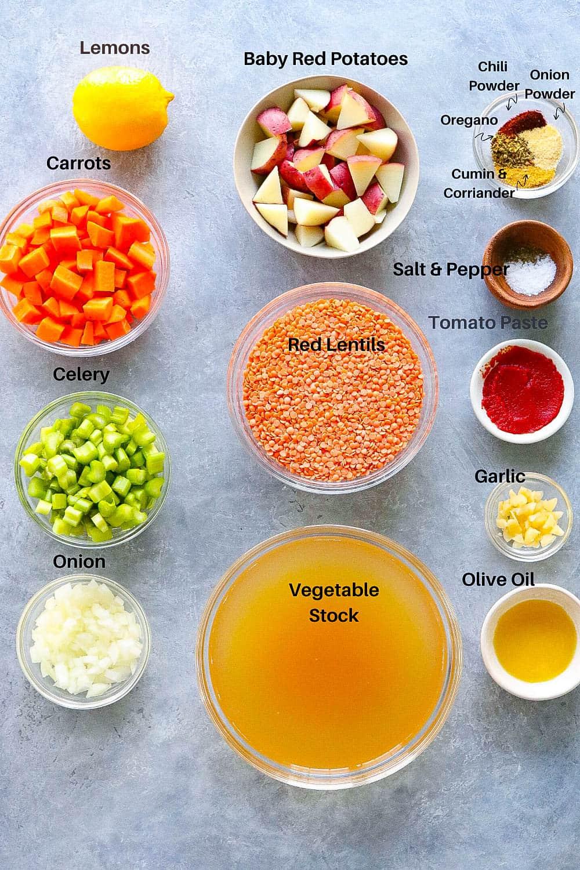 instant pot lemony lentil soup ingredients