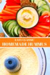 Bowl of classic hummus with sliced veggies around it