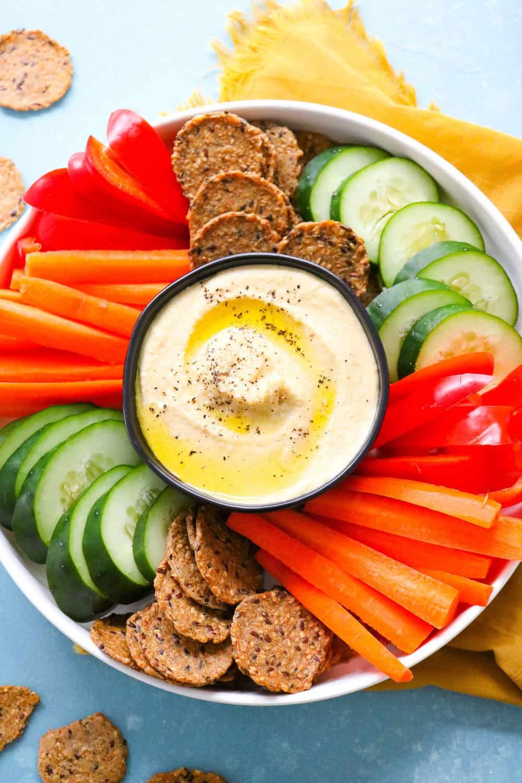 platter of humus and veggies
