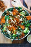 Crispy Chickpea Kale Caesar salad with Roasted Sweet Potatoes