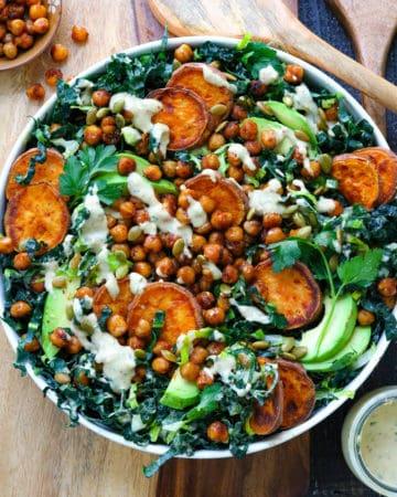 Crispy Chickpea Kale Caesar salad with Roasted Sweet Potatoes