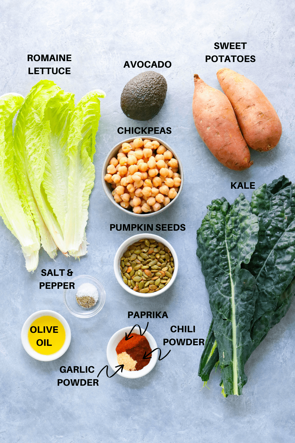 Ingredients to make kale Caesar salad