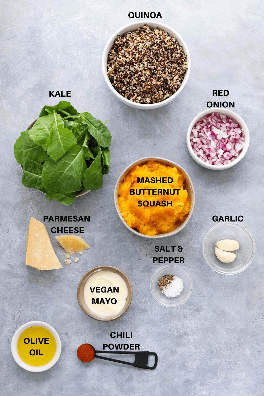 quinoa, squash, kale and garlic on a gray board