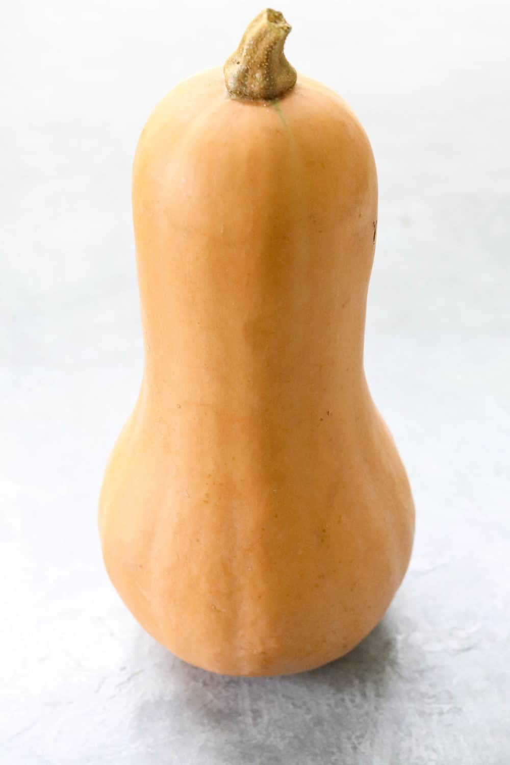 whole butternut squash standing upright on gray board