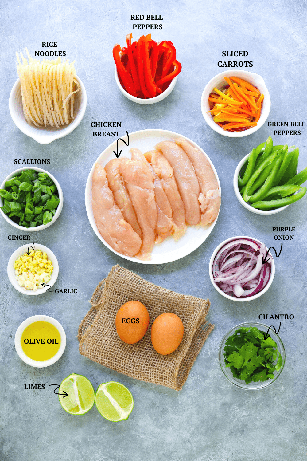 Chicken Pad This ingredients on a gray board