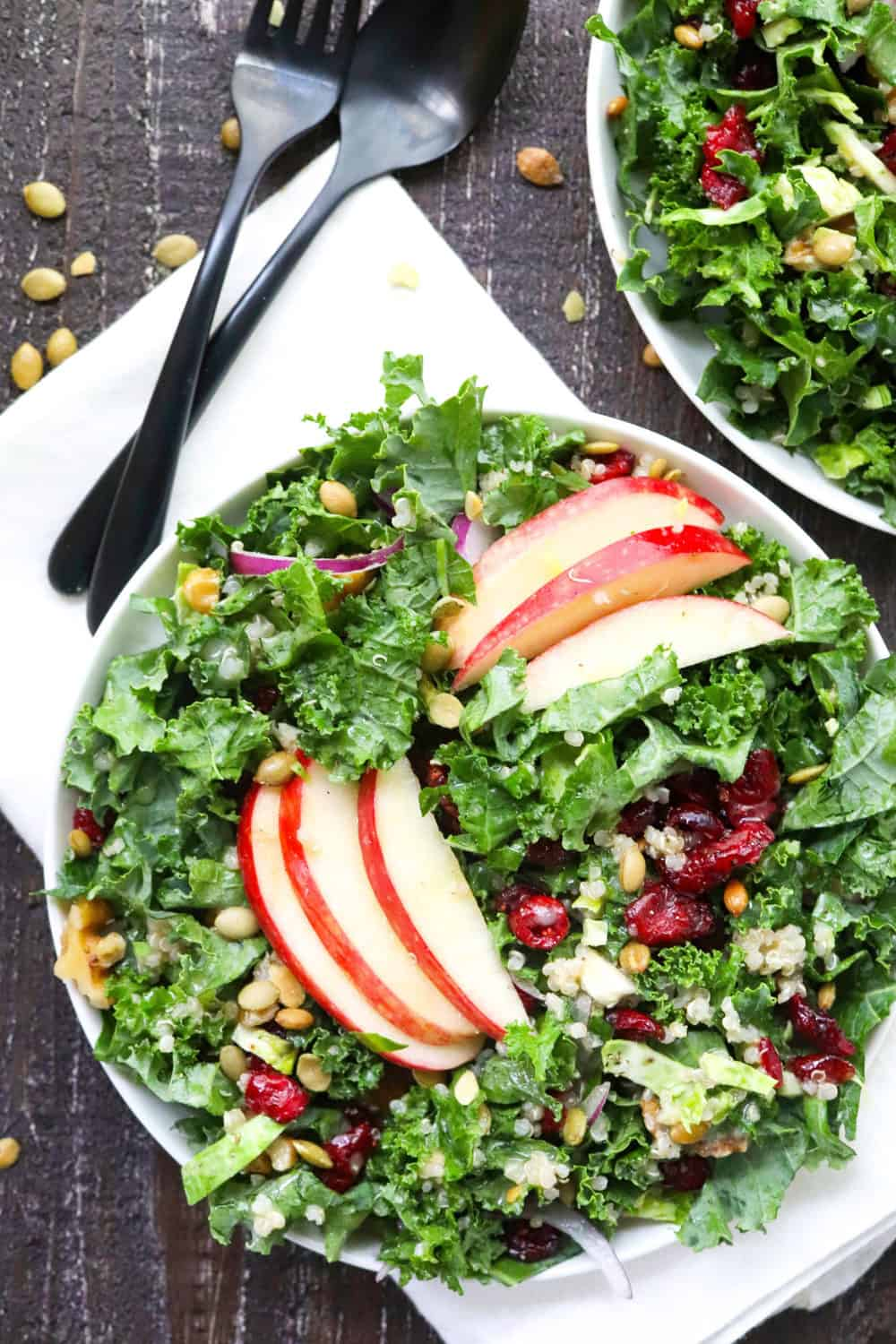 curly chopped kale on a white plate with apple slices and cranberries on top of it with another plate of salad behind it