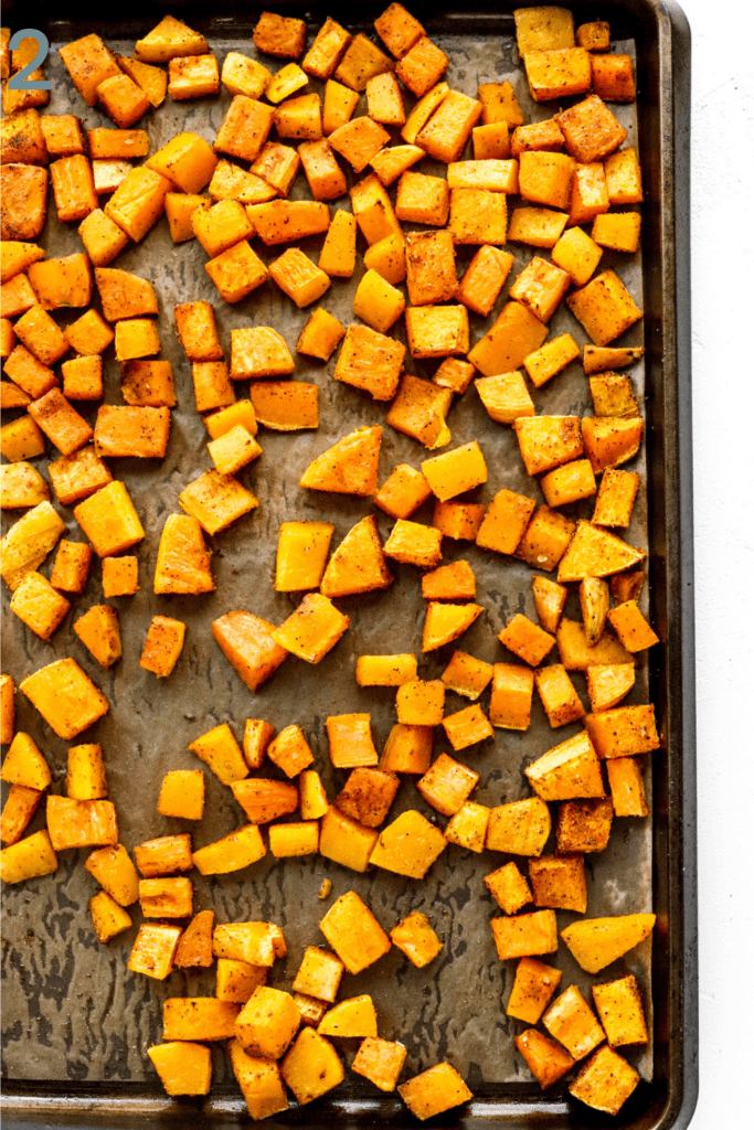 roasted squash on a baking sheet