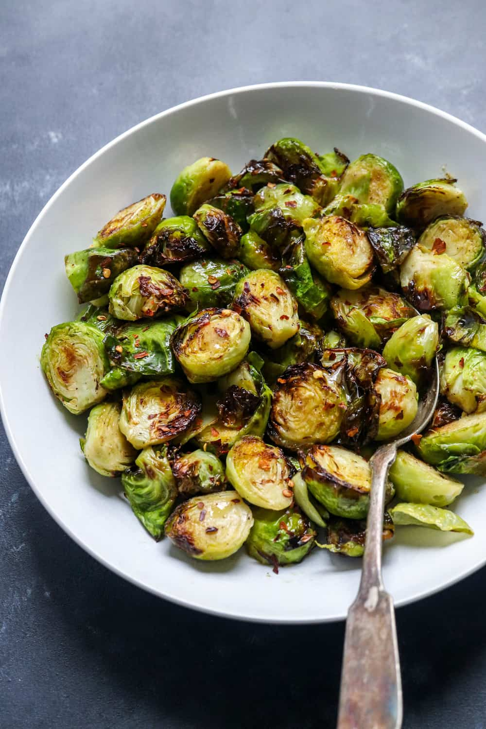 Large bowl of crispy baked Brussel sprouts