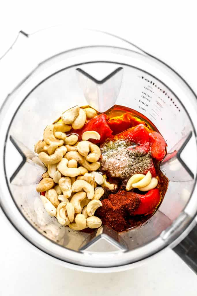 red bell peppers, cashews, oil, salt and pepper in a blender