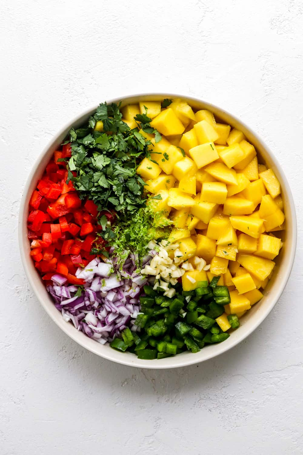 Round bowl filled with chopped mango, red pepper, green pepper, purple onion and cilantro separated in the bowl