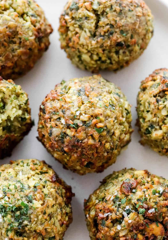 Close up of balls of crispy cooked air fryer falafel.