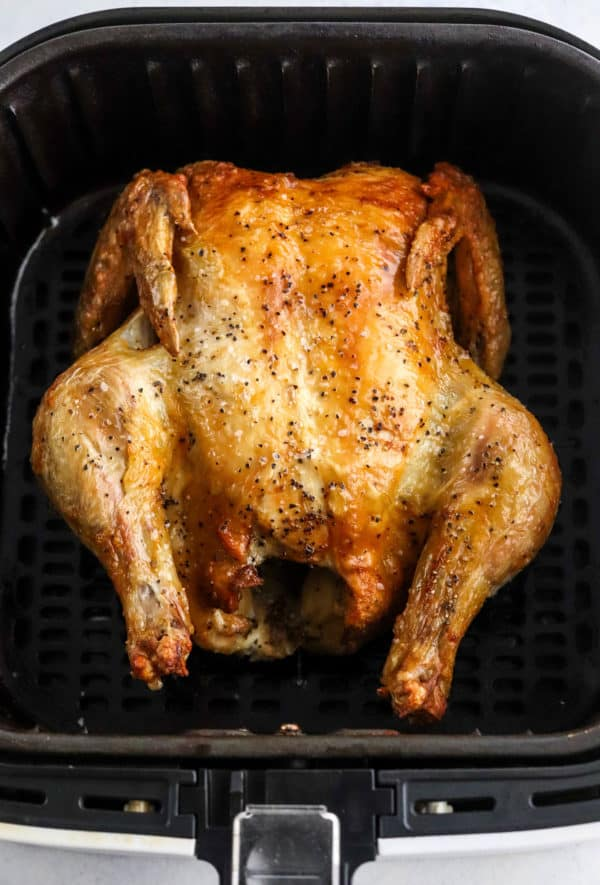 Air Fryer Whole Chicken Breast in air fryer basket