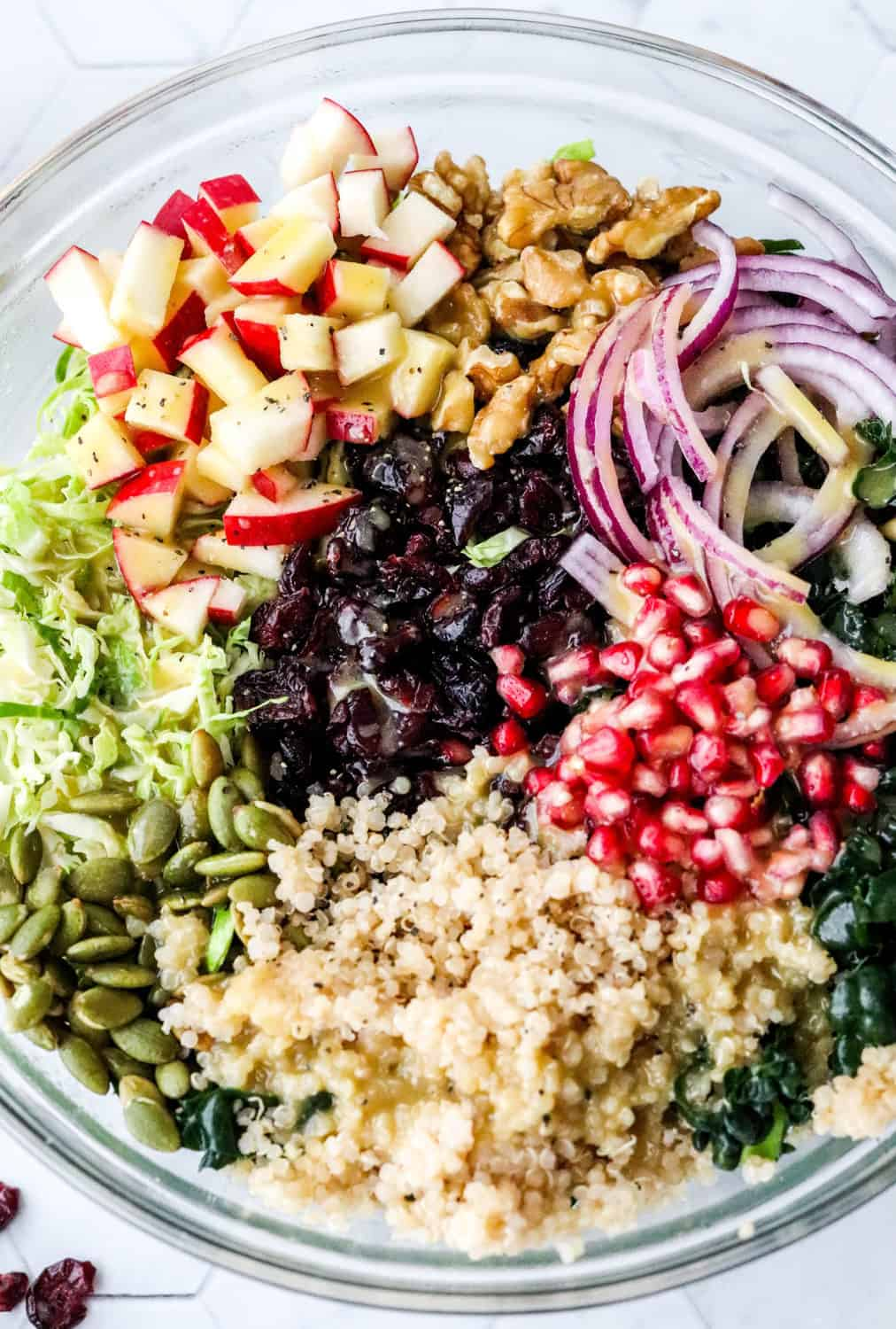 Large bowl filled with simple kale salad with quinoa, Brussel sprouts, sliced purple onion, pomegranate seeds, cranberries, chopped apple and walnuts