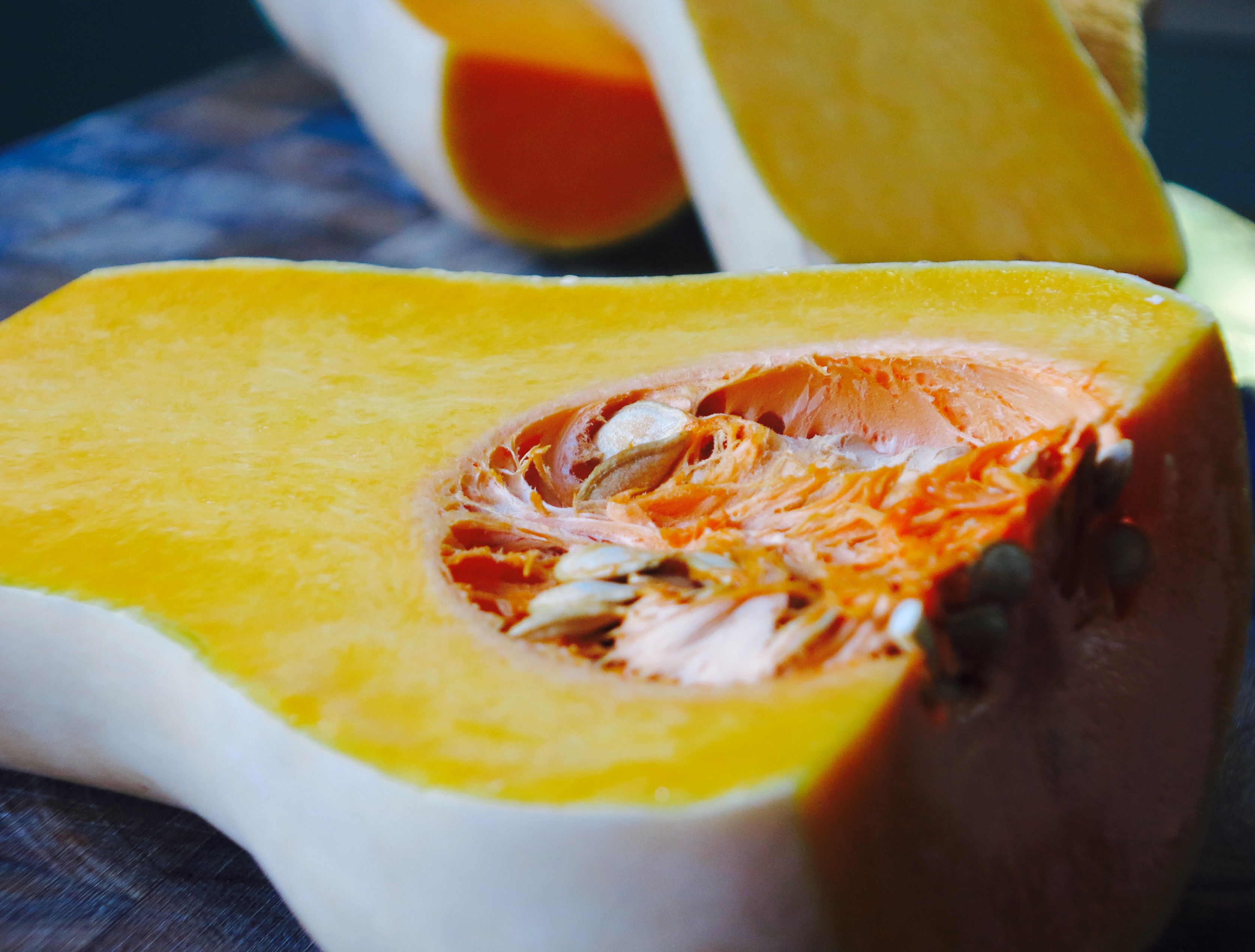 Roasted Butternut Squash Soup with Pesto and toasted Pumpkin Seeds
