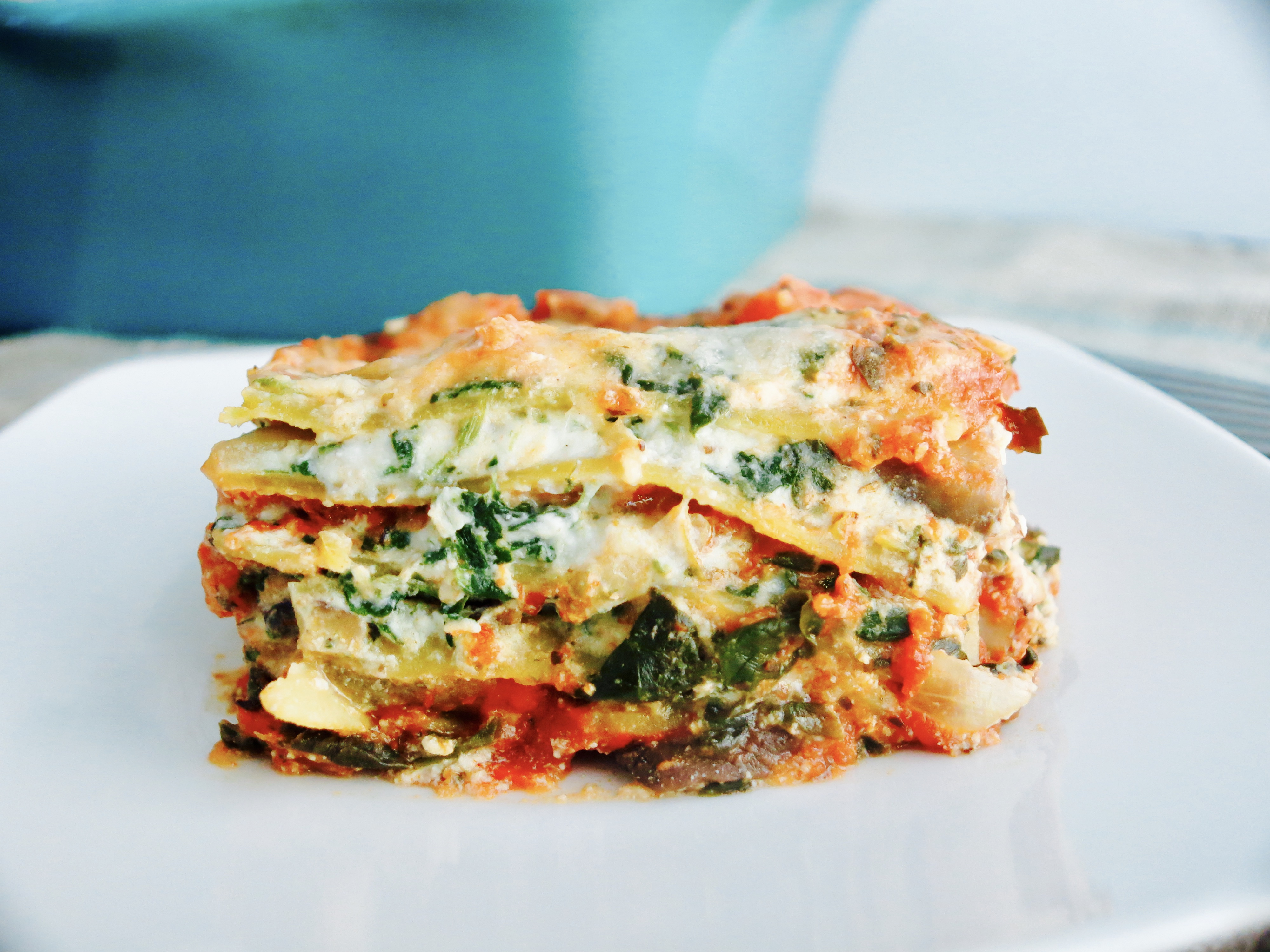 Skinny Spinach and Mushroom Lasagna