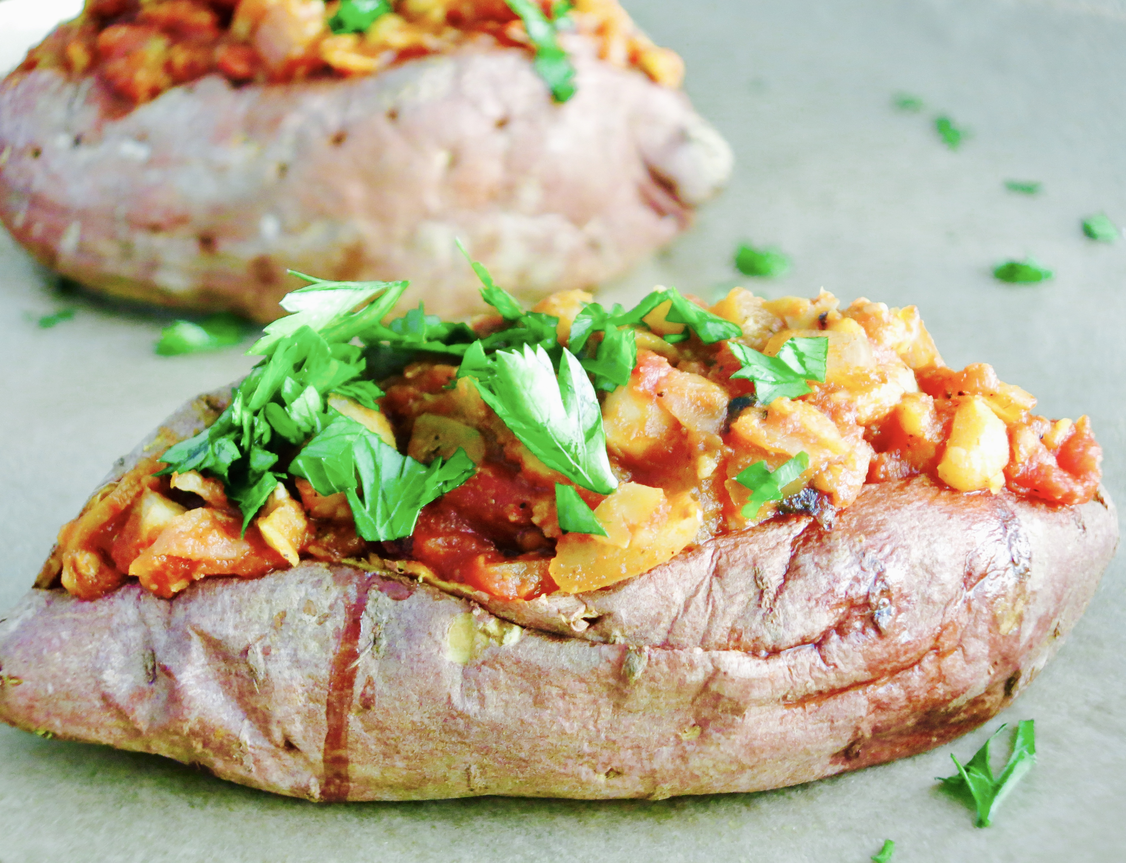 Chickpea Sloppy Joe Stuffed Sweet Potatoes