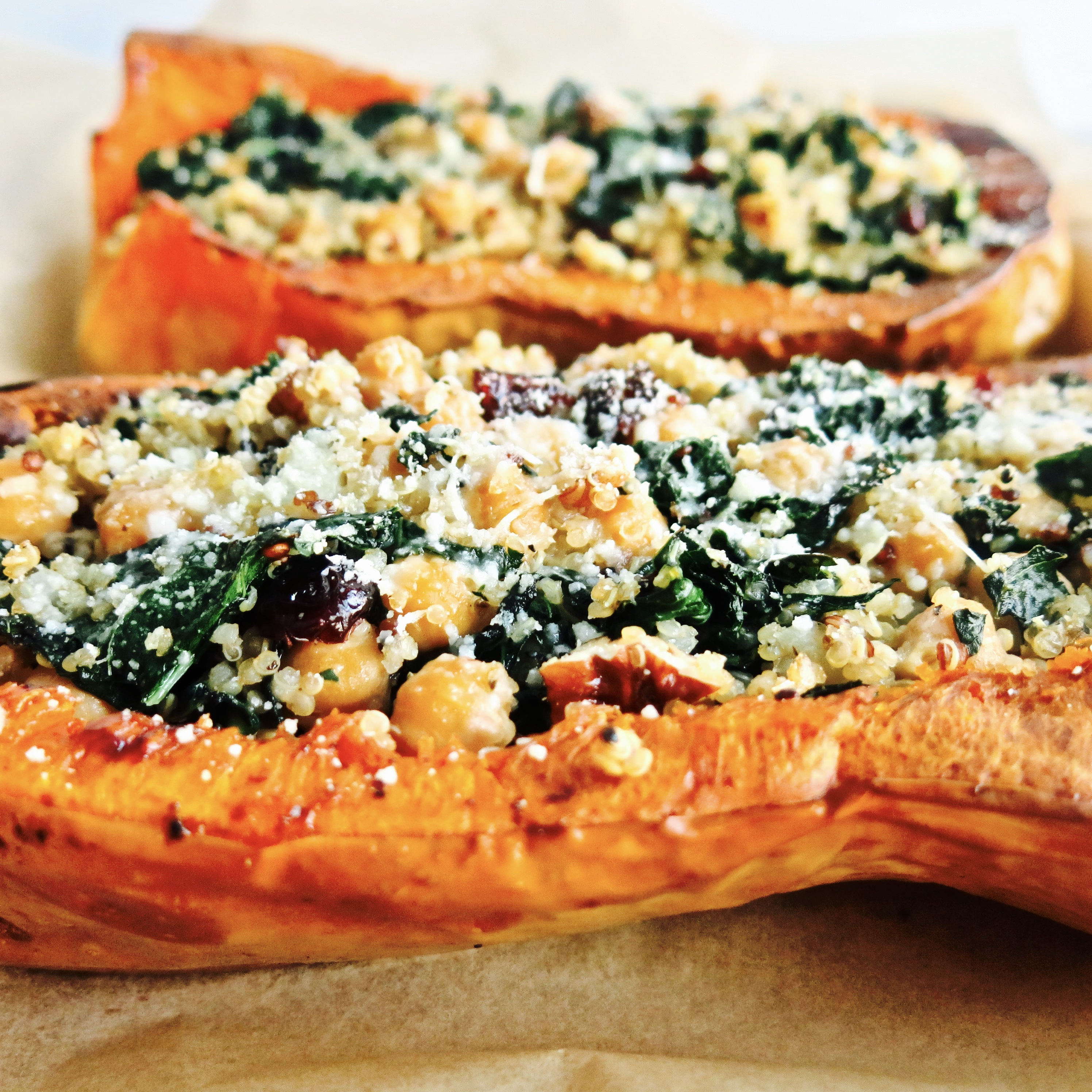 Roasted and Stuffed Butternut Squash with Quinoa, Kale and Chickpeas!