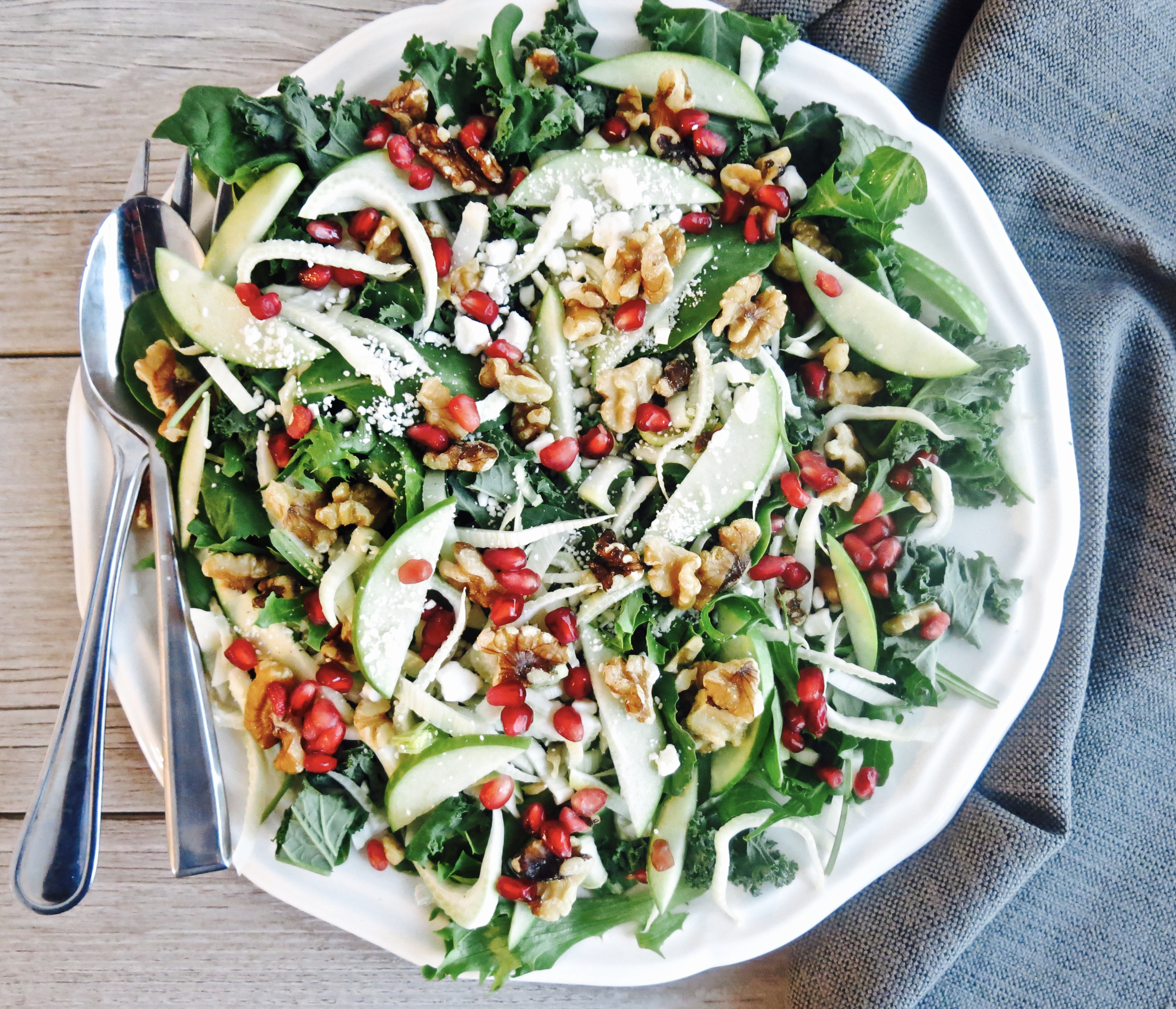 Baby Kale, Spinach Fennel and Apple Fall Salad with a Mustard Vinaigrette