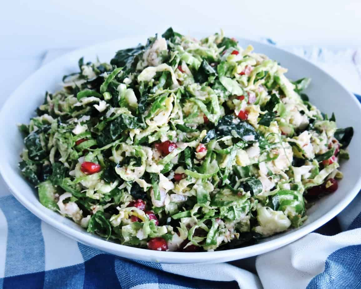 Piled High Brussel Sprout Salad with Lemon Shallot Vinaigrette