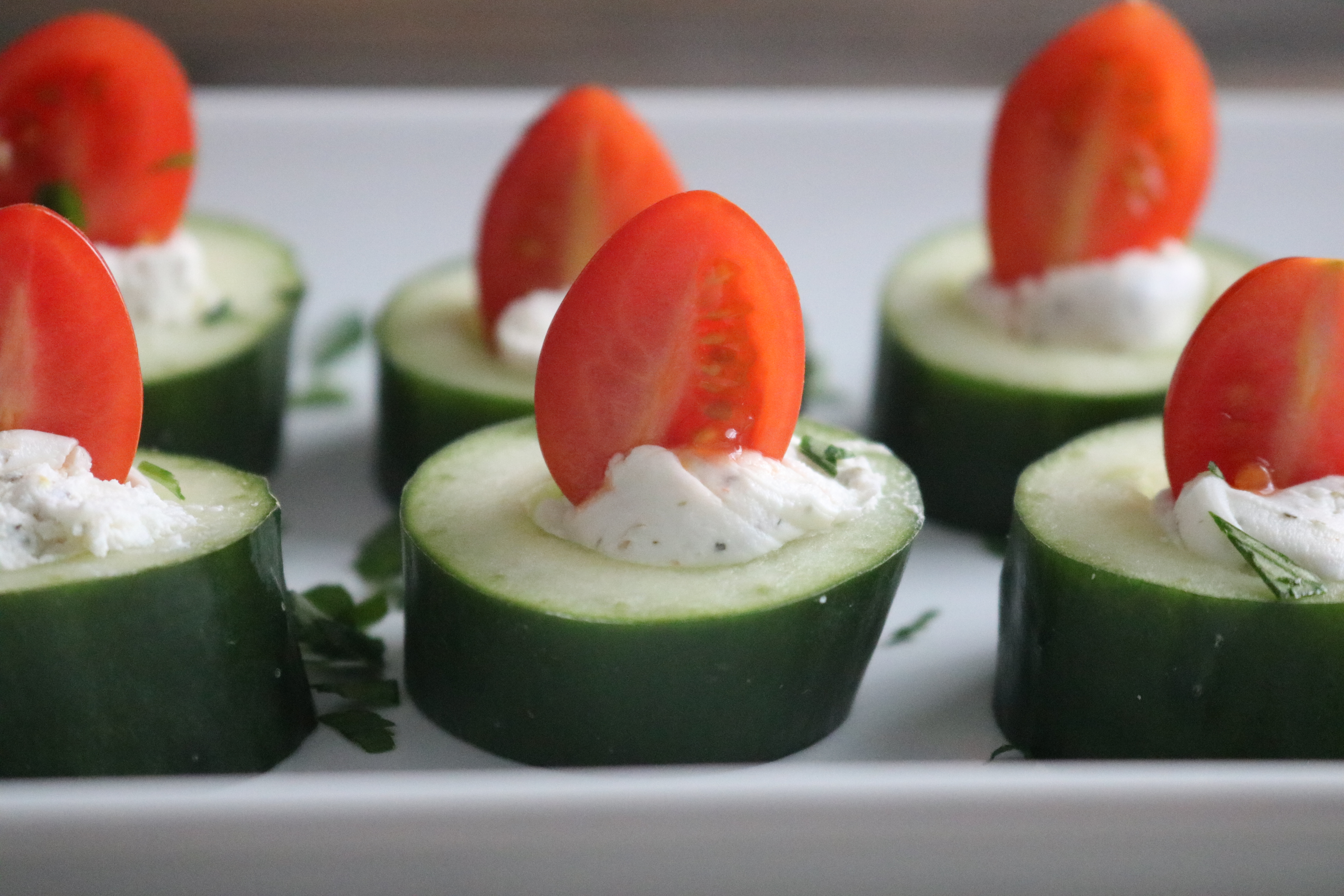 Cucumber and Goat Cheese Bites