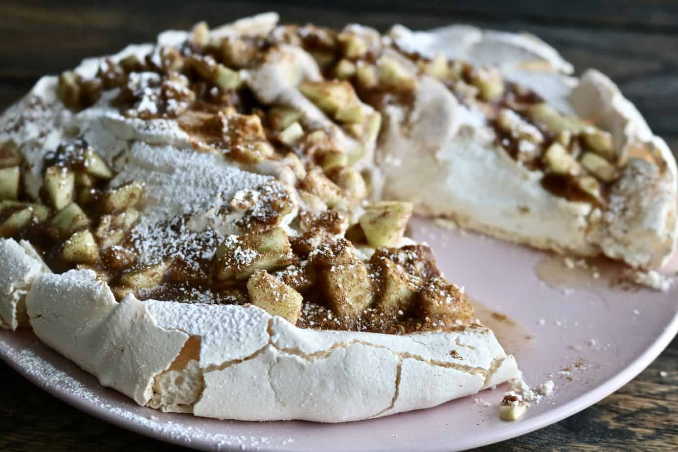 Incredible Apple Cinnamon Pavlova with Coconut Whip Cream
