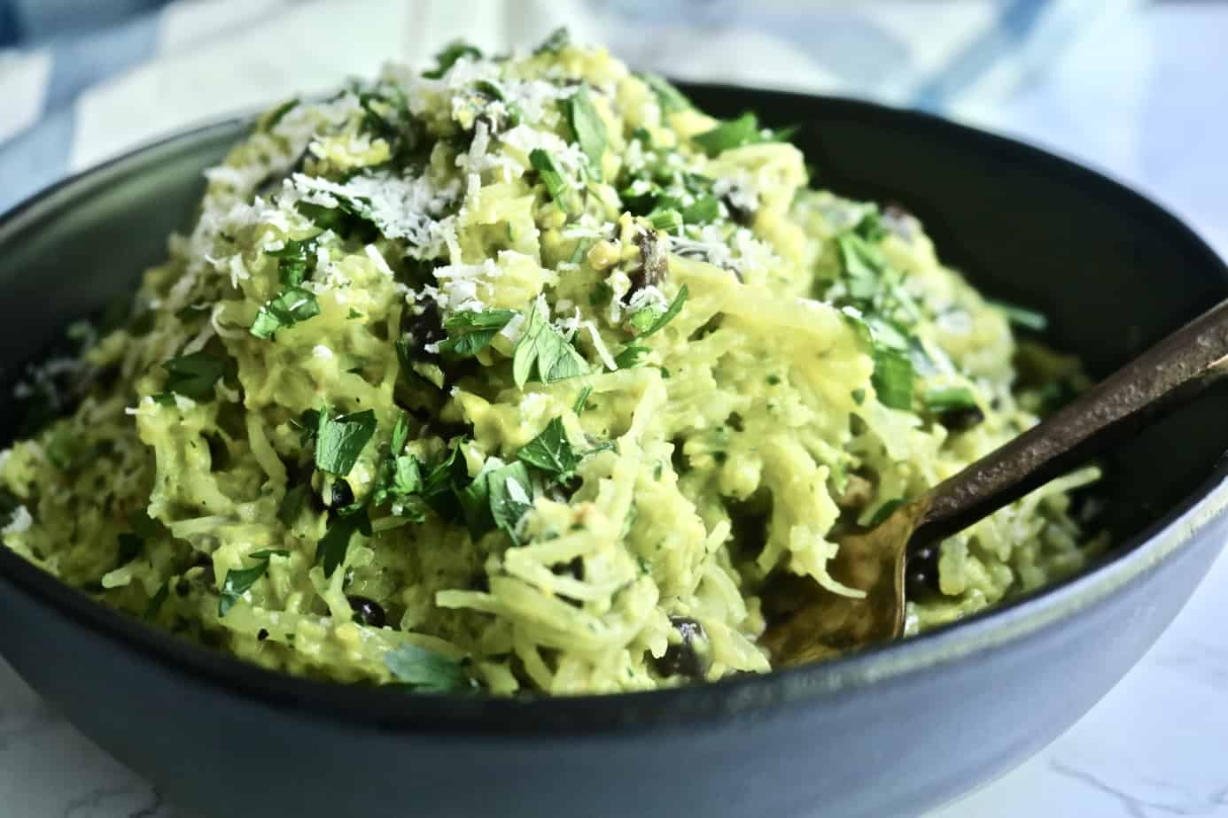 Amazing Corn Pesto and Black Bean Spaghetti Squash!