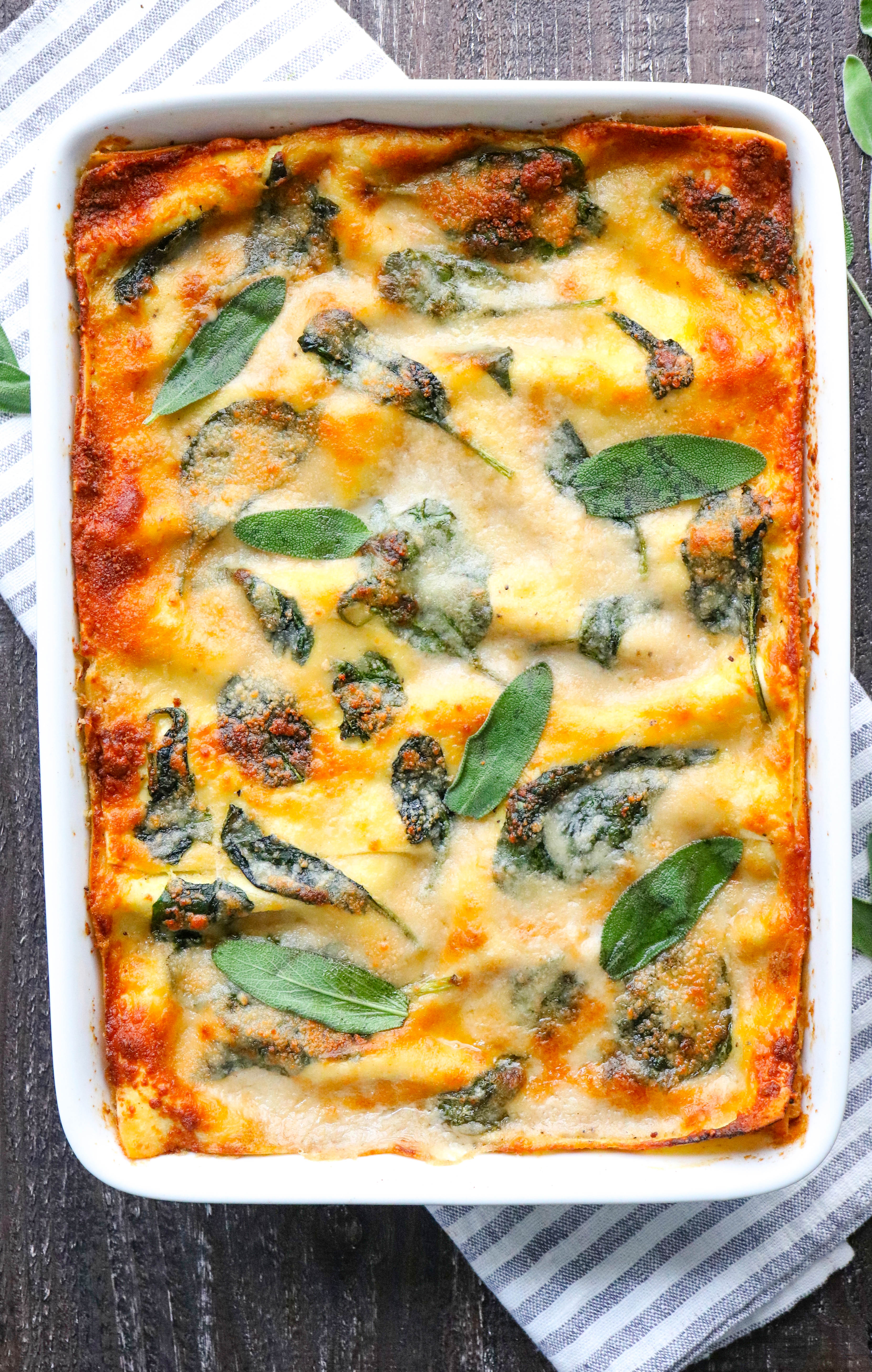 healthy butternut squash lasagna - with spinach - pinch me